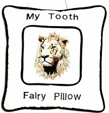 Tooth Fairy Pillow with Lion Head embroidered on White Cotton L2 New Handmade