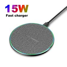 US 15W Qi Wireless Charger Charging Pad Mat For iPhone 11 8 XS Samsung S20 S10