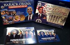 BARAK OBAMA Commemorative KIT BOXED 24 KT GOLD Plated COIN 2 Card Sets JUMBO #d