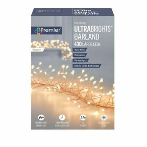 Premier 2.7m Ultrabright Rose Gold Christmas Garland with 430 Warm White LEDs