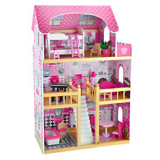 Deluxe Large Wooden Dollshouse FREE 15 Piece Matching Furniture Play Set Stairs
