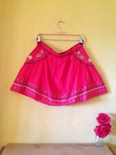 Size 12 vintage boho folk 70's 50's look red embroidered floral look mini skirt