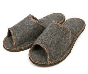 Men's 100% Wool Felt Russian Slippers Warm Cozy Open-Toe NON-SLIP House Shoes