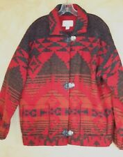 Southwest Inspired Red Wool Indian Print Silver Buttoned Jacket Sz L USA Made