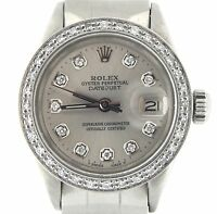 Rolex Datejust Lady Stainless Steel Watch Oyster Silver Diamond Dial .85ct Bezel