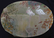 Tableau Art Nouveau : les Cygnes signé Henri LE RICHE (1868-1944) dit Hirné
