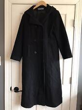 Herman Kay Black Long Wool Coat Hooded Womens Size 6