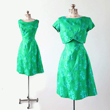 Vintage 60s Green Floral Brocade 2pc BOW cocktail party dress S
