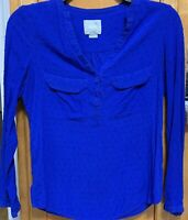 Anthropologie Maeve Tunic Blouse Top Shirt Sz Small Blue Long Sleeves