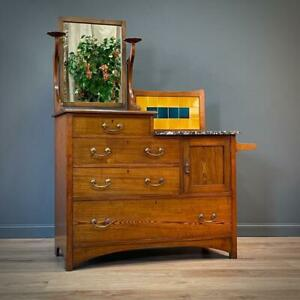 Attractive Antique Arts & Crafts Oak & Marble Top Washstand Dressing Table