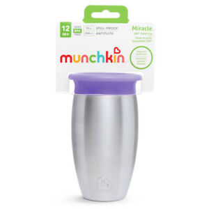 Munchkin Miracle Stainless Steel 360 Sippy Cup,10 Ounce Purple