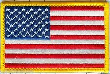 """US Flag  Patch  Lot of 300@1.20 ea, Star Field Left, Gold Border 3 1/2"""" X 2 1/4"""""""