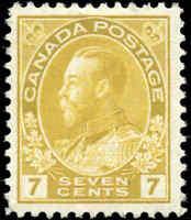 Mint NH Canada 1911 F-VF Scott #113 7c Admiral King George V Issue