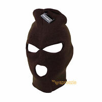 Brown Ski Mask Beanie 3 Hole Knitted Cap Hat Warm Face Winter Snow Mens Womens