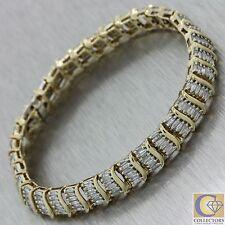 Vintage Estate 14k Solid Yellow Gold 3.50ctw Baguette Diamond Tennis Bracelet