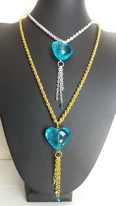 """LADIES BLUE HEART PENDANT WITH DANGLE DROP CHAIN ON A 22"""" GOLD OR SILVER ROPE CH"""