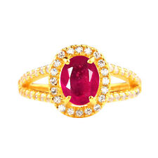 14KT Yellow Gold 1.90 Carat Natural Burmese Ruby EGL Certified Diamond Ring