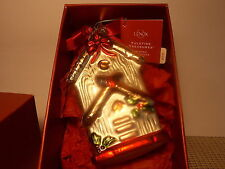 Lenox China Winter Greetings Yuletide Treasures  Glass Ornament Rustic Birdhouse