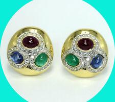 button earrings 18K Yg 30.8 Gm Vintage 17.8Ct diamond ruby emerald sapphire