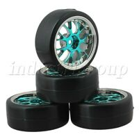 4Pcs Wheel Rims & Plastic Tires For RC 1:10 On-Road Racing Car & Drift Car