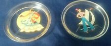 Two Vintage Glass Coasters Sailor Girl And Spanish Dancer