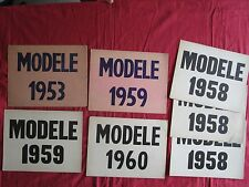 N° 9791 bis / 7 cartons modele 1953 , 1958 , 1959 , 1960 voiture d'occassion
