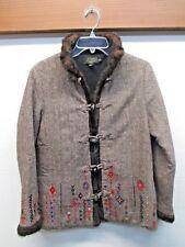 Icelandic Design jacket Brown wool blend Tweed duffle cardigan sweater coat Sz S