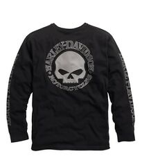 Harley-Davidson Men's Skull Long Sleeve Tee Black Gr. XL - Herren Shirt Schwarz
