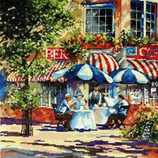 """Design Works Counted Cross Stitch Picture Kit Cafe In The Sun 14"""" x 14"""""""