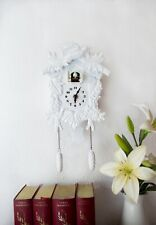 Cuckoo Clock in White Wall Clock Cute Birds Decal Room Home Art Decorations