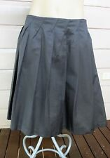 Veronika Maine deep taupe cotton blend pleated textured skirt size 12 (US 8)