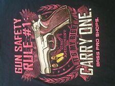 Women's Gun Safety Rule #1 Carry One Bass Pro Shops 2nd Amend T-Shirt (L) E.U.C