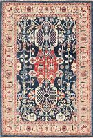 4x6 Navy Blue Geometric Sultanabad Ziegler Hand-Knotted Area Rug Oriental Carpet