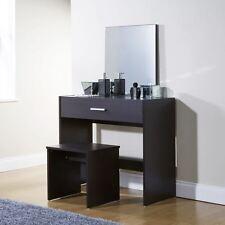 new Julia Espresso Vanity Dressing Makeup Table Set Mirror Stool Storage  Desk