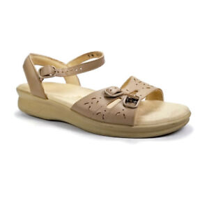 SAS Tripad Comfort Duo Quarter Adjustable Sandals Womens Sz 7 W Natural Stone