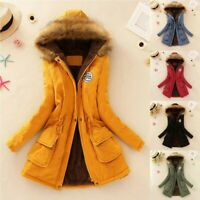 Womens Warm Long Coat Fur Collar Hooded Jacket Slim Winter Parka Outwear Coat KM