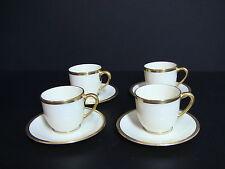 Lenox TUXEDO J-33 Demitasse Cups & Saucers/Set of 4/Gold Backstamp 1st Quality