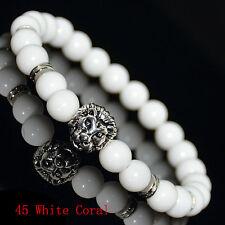 8mm Natural Stone Silvery/Golden Lion Head Bead Charm Bracelets