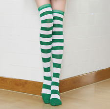 St Patricks Day Green and White Striped Over the Knee Socks