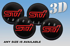 STI domed wheel center cap decals emblems stickers 4 pcs ~ ANY SIZE ~ r/b