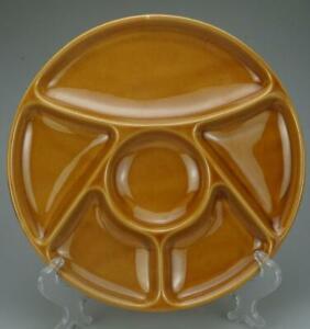 "Porcelain Chip 'N Dip Serving Tray Platter 6 segments 9-5/8"" Diameter Tan QA36"