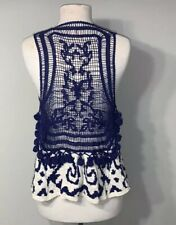 Moth By Anthropologie M/L Womens Crochet Blue & White Open Sleeveless Cardigan