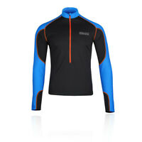 OMM Mens Meridian Zip Running Top - Black Blue Sports Warm Breathable Reflective