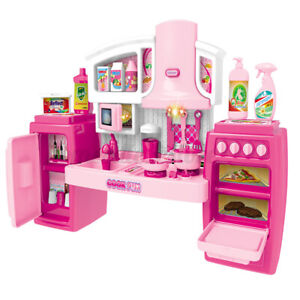 Kids Kitchen Play Set Cookware Pretend Play Toy Cooking Light Sound Girls Gift