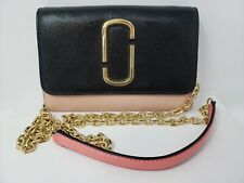 MARC JACOBS $265 Snapshot Leather Wallet on Chain Bag Pink Black Gold Good Cond.