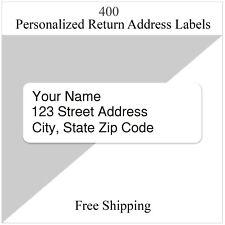 400 Personalized Return Address Labels Printed Custom 12 Inch X 1 34 Inch