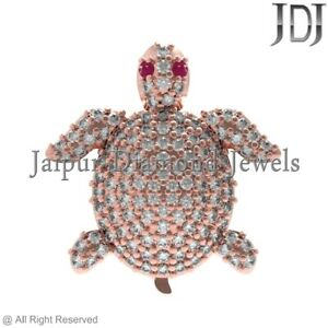 0.595CTW White Diamond Ruby 14kt Rose Gold Magical Turtle Charm Finding Jewelry