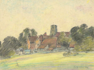 George William Collins (1863-1949) - Pastel, Landscape with Church