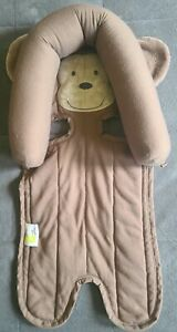 Infant Carseat Headrest Neck Support Pillow Brown Monkey