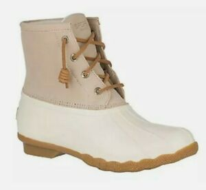 NWOB ❄️ Women's Sperry Saltwater Duck Boots in Ivory STS84428 SIZE 10